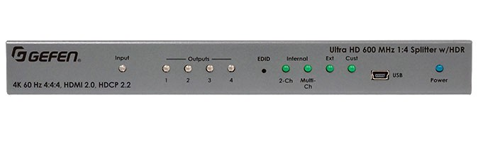 4K ULTRA HD 600 MHZ 1:4 SPLITTER W/ HDR FOR HDMI
