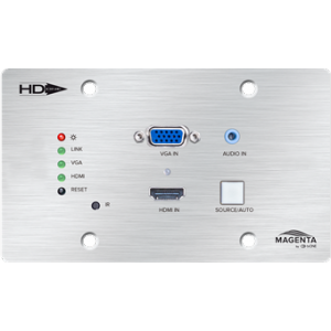 HDBT WALL PLATE TX WITH VGA AND HDMI 1.4 INPUT,  4K-40M, HD-